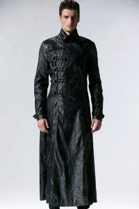 Langer Herren Mantel aus Lederimitat mit Schnallen