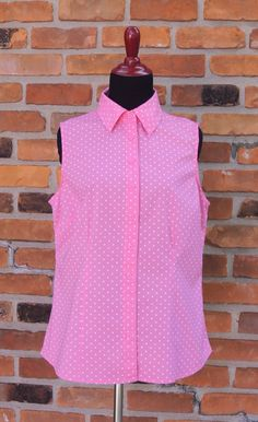 Vintage Chadwicks of Boston Pink Polka Dot Sleeveless Shirt/Summer Pink w/White Polka Dots Buttoned Blouse/Casual/Office/Pink Polka Dot Top