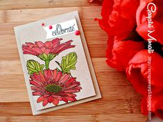 Handmade by G3: CASE Study #202. Gorgeous colours and use of Uniko Studio Gerbera stamps with Copics.