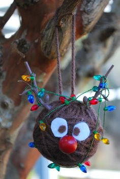 Yarn Ball Santa, Rudolph, & Snowman Ornaments Kristin at wRIte iT DOwN {Ornament No.7}
