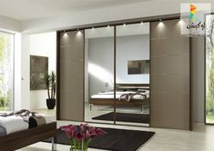 The Most Popular Choices for Wardrobe with Sliding Doors Black Rug For Contemporary Bedroom Plan With Modern Wardrobe Design Using Mirrored Sliding Doors And Stylish Track Lighting Wardrobe Door Designs, Wardrobe Design Bedroom, Modern Wardrobe, Built In Wardrobe, Closet Designs, Closet Bedroom, Wardrobe Furniture, Mirror Bedroom, Wardrobe Closet