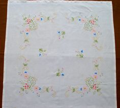 Vintage Hand Embroidered Square Tablecloth Pastel Floral Cotton with Hemstitch by VintageHomeStories on Etsy Rustic Shabby Chic, Rustic Decor, Pastel Floral, Moroccan Decor, Floor Decor, Cottage Chic, Vintage Home Decor, Pattern Making, Etsy Handmade