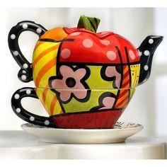 Romero Britto Full Size Ceramic Apple Tea For One Teapot Retired Britto Disney, Apple Tea, Teapots Unique, Tea For One, Tea Pot Set, Teapots And Cups, Arte Pop, Chocolate Pots, Cup And Saucer