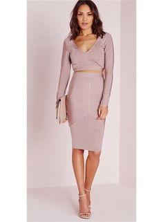 MISSGUIDED Svetlo fialová midi sukňa foto