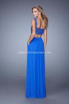 2015 Two Piece La Femme 21347 Lace Top Prom Dress Electric Blue