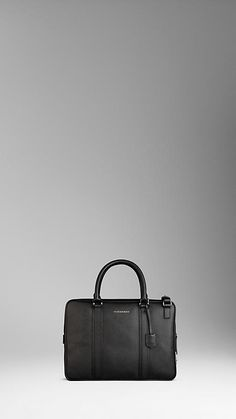 BURBERRY TEXTURED LEATHER CROSSBODY BRIEFCASE