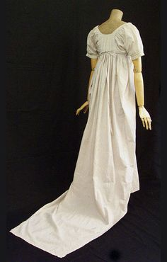 Cotton dress with train, c.1800, from the Vintage Textile archives