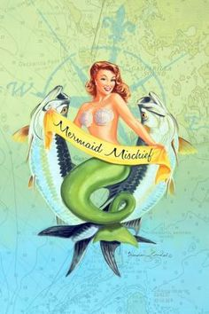 Retro-Style Art by Brendan Coudal - Boca Beauties Mermaid Lagoon, Mermaid Fairy, Mermaid Tale, Mermaid Pinup, Manga Mermaid, Fantasy Mermaids, Real Mermaids, Mermaids And Mermen, Cosplay Steampunk