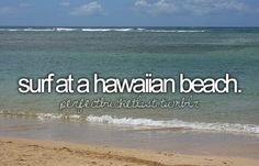 surf at a hawaiian beach <3 check!