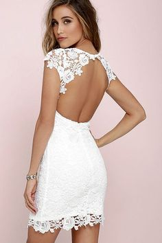 Love the back of this white dress and all this lace detailing!!