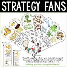 Reading Strategy Fans will allow you to Model and Teach your students how to use common reading strategies to help them decode unknown word and use context clues to aid in comprehension. They are easy-to-use for your students and easy-to-prep for YOU! #guidedreading #strategyfans #firstgrade #secondgrade