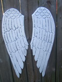 Wooden Angel Wings Distressed Grey White and Pearl by HeatherMBC