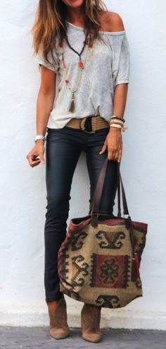 summer outfits **** Stitch Fix Spring Summer 2017 Inspiration! Loving The Adorable Boho Vibe Of This Outfit With Grey Off The Shoulder Top, Chunky Accessories And Skinny Jean! Boho Chic. Such A Great Look!! Try Stitch Fix Today To Receive Styles Just Like These. Simply Click The Picture, Fill Out Your Style Profile And Start Customizing Your Wardrobe Today!! Who Doesn\'t Want Hand Picked Styles Delivered Right To Their Door?! #StitchFix #sponsored #casualsummeroutfits