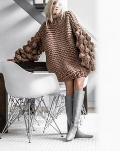 You and I Long Lantern Sleeve Chunky Texture Oversized Pattern Mock Neck Pullover Sweater – 4 Colors Available – Sold Out You and I Long Lantern Sleeve Chunky Texture Oversized Pattern Mock Ne – Indie XO Chunky Cable Knit Sweater, Hand Knitted Sweaters, Mohair Sweater, Brown Sweater, Wool Sweaters, Pullover Sweaters, Chunky Sweater Outfit, Chunky Knits, Oversized Sweater Dress