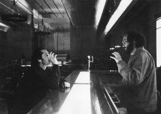 Stanley Kubrick directs Jack Nicholson on the Gold Room Bar set of The Shining.