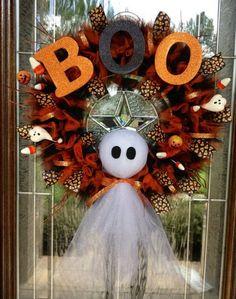 Deco Haloween, Fete Halloween, Halloween Ghosts, Holidays Halloween, Halloween Crafts, Happy Halloween, Halloween Decorations, Halloween Wreaths, Halloween Clothes