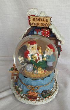 Santa's Work Shop Snow Globe Musical Snow Globe by KathyKupboard,:): Chrissy Snow, Musical Snow Globes, Water Globes, Christmas Snow Globes, Let It Snow, Winter Snow, Rapunzel, Childhood Memories, Musicals