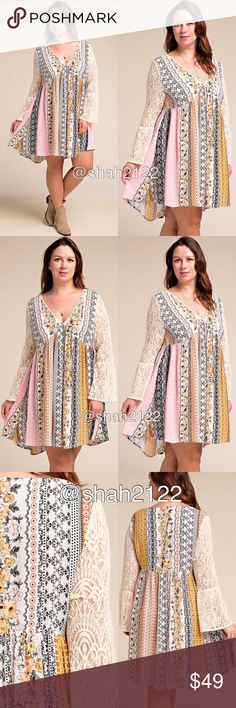 "Plus size lace bell sleeves printed flowy dress price is firm‼️only mustard pink combo is available.. ‼️2Xl can fit a 3xl    ⭐️NWT retail. -plus size dress- -sheer Lace long bell flare sleeves dress. -beautiful patch work floral print. -boho chic mini hi lo low dress....sexy, flowy  ,comfy  summer sun dress.  Measurements : (Armpit to armpit 1Xl is 26"" /2Xl is 27"");  (Total Length 1Xl-2Xl is 36"" at front and  backside length is 38"");  sleeves length is 24.5-25.5""  ⭐Material  is 100%Rayon…"