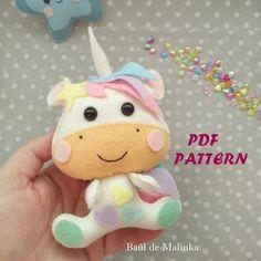 Unicorn pattern felt Unicorn PDF tutorial horn sewing tutorial Unicorn DIY felt ornament unicorn Sewing tutorial felt unicorn baby mobile