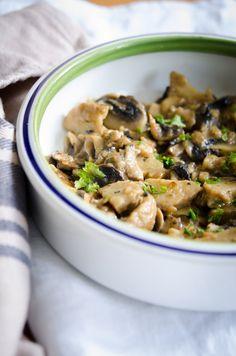Seitan and mushroom stew. Vegan!