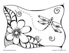 Dragonfly Garden Abstract Doodle Zentangle ZenDoodle Paisley
