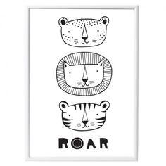 """Tolles schwarz-weiß Poster """"ROAR"""" für stilsicher eingerichtete Kinderzimmer! Wir haben die schönsten Poster für's Kinderzimmer. Jetzt bei Minicatwalk! ❤"""