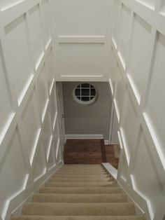 896 YDC: Blank Stair(well) - Love this! I want this for my house in my stairwell Wainscoting Bedroom, Dining Room Wainscoting, Wainscoting Panels, Wainscoting Ideas, Painted Wainscoting, Black Wainscoting, Basement Bedrooms, Basement Stairs, Modern Basement