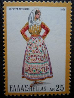 Stamps, covers and postcards of traditional/folk costumes: Stamps / Costumes - Greece / Graikija Folk Costume, Costumes, Greek Traditional Dress, Mediterranean Style, My Stamp, Albania, Folklore, Postage Stamps, Postcards