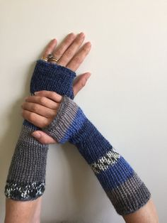 Fingerless Gloves Blue and Grey Hand Warmers Arm by SimonKnits