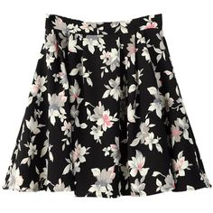 Floral Print Skirt (430 NIO) ❤ liked on Polyvore featuring skirts, floral knee length skirt, floral printed skirt, floral print skirt, flower print skirt and floral skirt