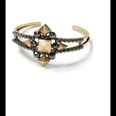 Mixed Metal Pyramid Cuff !   Mixed metal pyramid cuff ! Base metal setting ! Hematite plated ! Stunning ! Pictures say it all !  Banana Republic Jewelry Bracelets