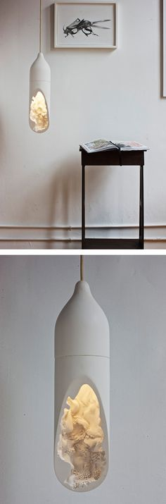 the Seltanica Light by Commonwealth, With a smooth, simple exterior, and an intricate interior all cast into a white Gypsum
