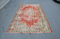 Antique Turkish Rug, Vintage Rug, Handmade Area Rug, Red Rug with Flower Patterns, Boho Rug  (273 cm x 158 cm)  8,9 ft x 5,1 ft  model: 1059 by OushakRugs on Etsy