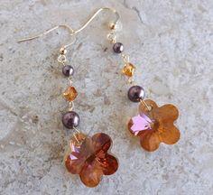 """Orecchini con fiore in cristallo Swarovski """"Crystal copper"""""""