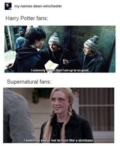 I belong to both of these fandoms. Im very new to the HP fandom though, im only on the second book, and i havent started the movies yet, but i plan to lol Supernatural Destiel, Castiel, Supernatural Bloopers, Supernatural Tattoo, Supernatural Imagines, Supernatural Wallpaper, Dean Winchester, Misha Collins, Marvel Dc