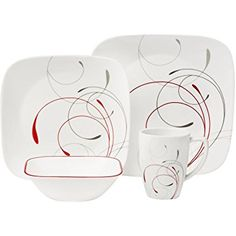Walmart Corelle Squares 32-Piece Dinnerware Set Splendor | Corelle Dinnerware | Pinterest | Dinnerware Squares and House  sc 1 st  Pinterest : corelle square 32 piece dinnerware set - pezcame.com
