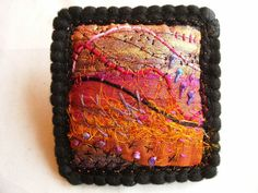 """Angie Hughes - """"To make these lovely little twinkling brooches you will need….. 3 pieces of black felt 8x8cms 1 piece of painted bondaweb 8x8cms or just plain"""""""