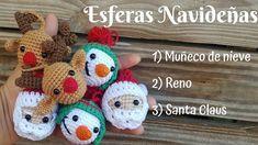 Esferas Navideñas a Crochet / Tejidos a crochet / Esferas Muñeco de nieve, Santa Claus, Reno - YouTube