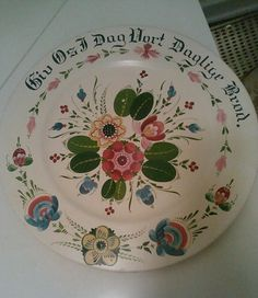 "Antique Norwegian Signed per Lysne 16"" Smorgasbord Wood Plate Charger Rosemaling | eBay"
