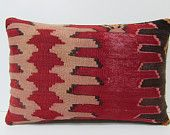red sofa pillow 16X24 sofa throw pillow red seat cushion vintage fabric decorative throw pillow bedroom pillow cover kilim pillow sham 18558