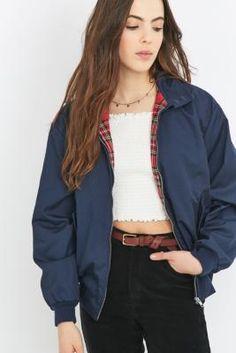 e2183c42187e Urban Renewal Vintage Surplus Navy Harrington Jacket Urban Outfitters  Clothes
