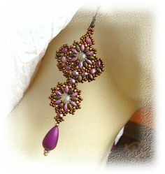 Beaded earrings - lilac, bronze, sand opal Swarovski crystal - Beadwork. Etsy.