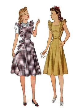 1940s Vintage Sewing Pattern Simplicity 3664 Women's Apron