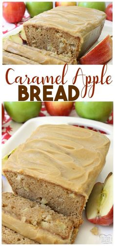 Caramel Apple Bread bursting with fresh apple, spiced with cinnamon and nutmeg, then topped with an incredible 3 ingredient caramel glaze topping. Easy #apple quick bread recipe from Butter With A Side of Bread