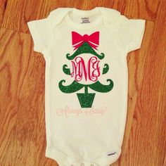 Sweet Babies will be the talk of the town in a Custom Sparkle Monogram Christmas Tree Bodysuit  All shirts/bodysuits/sweatshirts are created with high quality vinyl and use a heat press to ensure quality and longevity!   Please leave monogram in order with the LAST name in the MIDDLE in the n...