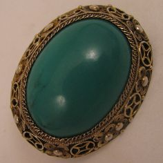 Early 1900s Chinese Export Gilded Sterling Turquoise Brooch