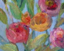 Original Contemporary Floral Painting- 8 x 8 Acrylic Canvas Wall Art