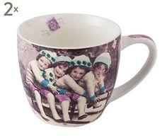 Großer Kaffeebecher Vintage Christmas, 2 Stück, H 9 cm