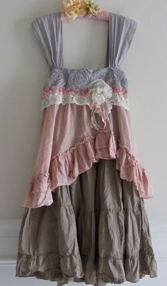 French Sugar Dress Shabby Sweet And Chic Ruffled Ruffle by IzzyRoo. Looks like an old skirt made into a dress.