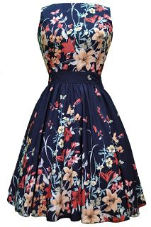 The *NEW* NAVY Floral Border Tea Dress